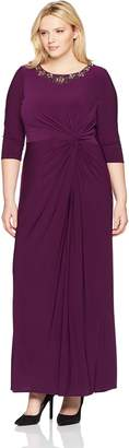 Alex Evenings Women's Plus Size Long Dress with Knot Front Detail and Beaded Neck