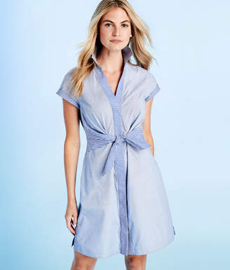 Vineyard Vines Tie Front Mix Stripe Shirt Dress
