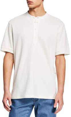 Brioni Men's Pique Short-Sleeve Henley Shirt