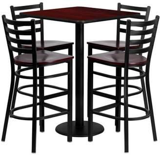 Flash Furniture 30'' Square Mahogany Laminate Table Set with 4 Ladder Back Metal Barstools, Mahogany Wood Seat