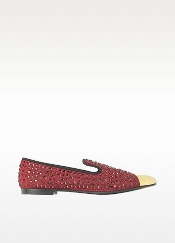 Giuseppe Zanotti Dark Red Suede Loafer w/Crystal