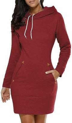 Women Hoodie Dress,Bmeigo Sweatshirt Pullover Long Sleeve Slim Fit Plus