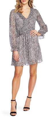 CeCe Mountain Leopard Long Sleeve Dress