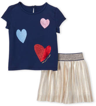 Kate Spade Infant Girls) Two-Piece Tossed Heart Tee & Pleated Skirt Set