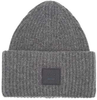 Acne Studios Pansy S Face Ribbed Knit Beanie Hat - Womens - Grey