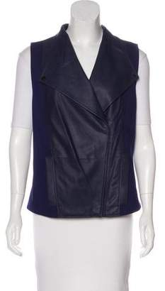 Vince Leather-Accented Draped Vest