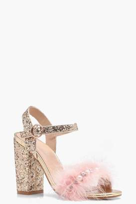 boohoo Ava Glitter and Feather Detail Heels