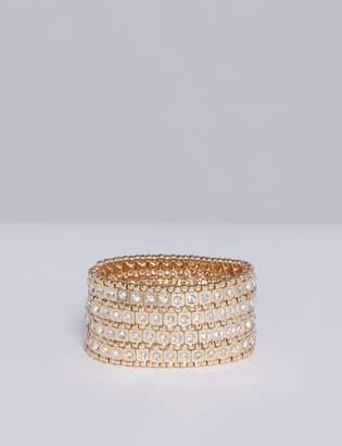 Square Bead Stretch Bracelet with CZ