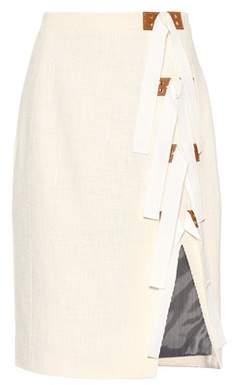 Sorbonne leather-trimmed cotton skirt