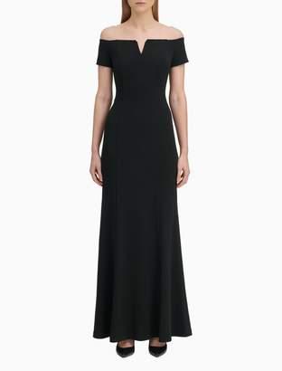 Calvin Klein Off-Shoulder V-Notch Gown