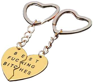 Bling Stars Best Fucking Bitches Keychain Best Friends BFF Lovers Engraved Heart Key