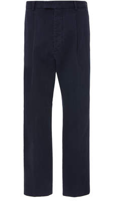 Officine Generale Pleated Cotton-Twill Straight-Leg Pants