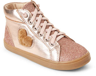 Old Soles Toddler/Kids Girls) Rose Gold Glam Heart High-Top Sneakers