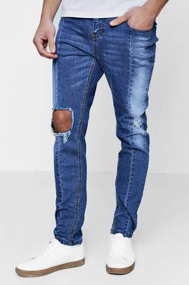 boohoo Skinny Fit Ripped Knee Panelled Seam Jeans
