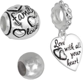 """Individuality Beads Sterling Silver """"Family Love"""" Bead & Heart Charm Set"""