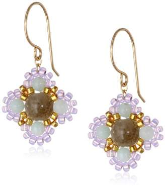 Miguel Ases Small Calcite and Quartz Miyuki Encased Flower Drop Earrings