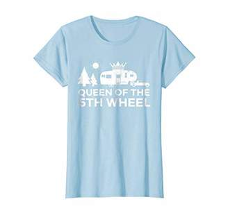 Camper Womens Vintage Queen Of The 5th Wheel TShirt RV Camping Gift