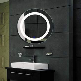 Fab Glass and Mirror Modern Bathroom LED Lighted Wall Mounted Vanity Mirror Round Shape