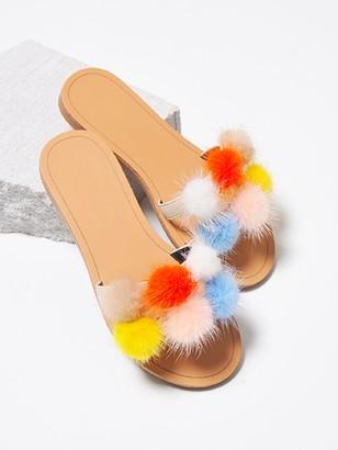 Goodnight Macaroon 'Alisa' Pom Pom Slide Sandals (2 Colors)