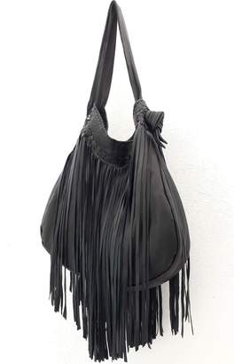 Areias Leather Black Fringes Bag