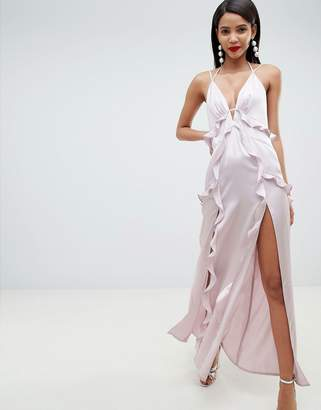 Asos DESIGN deep plunge ruffle front satin maxi dress with open back