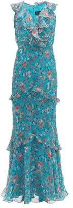 Saloni Rita Floral Print Silk Crepe De Chine Maxi Dress - Womens - Blue Multi