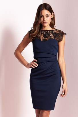 Lipsy Monochrome Lace Bodycon Dress - 4 - Blue