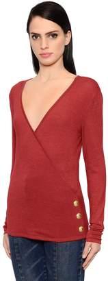 Balmain Wool & Silk Jersey Top W/ Buttons