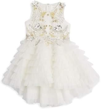 Mischka Aoki Floral-Embellished Ruffle Dress