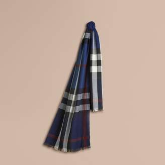 Burberry Lightweight Check Wool Cashmere Scarf $425 thestylecure.com
