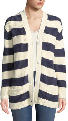 Kule The Tempest Striped Button-Front Sweater