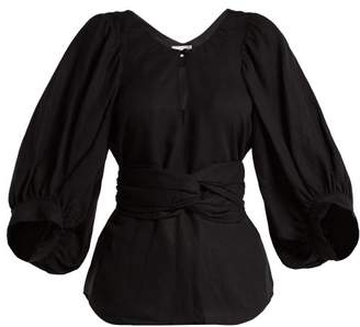 Apiece Apart Linen Blend Balloon Sleeve Top - Womens - Black
