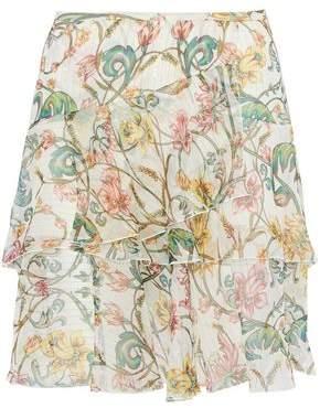 Roberto Cavalli Ruffled Floral-Print Metallic Silk-Blend Chiffon Mini Skirt