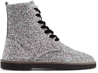 Golden Goose Glittered Leather Ankle Boots - Silver