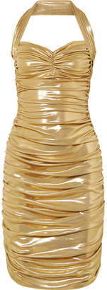 Norma Kamali Bill Ruched Stretch-lamé Mini Dress - Gold
