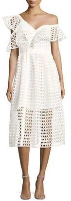Self-Portrait Lace Frill Asymmetric Cold-Shoulder Midi Dress, White $545 thestylecure.com