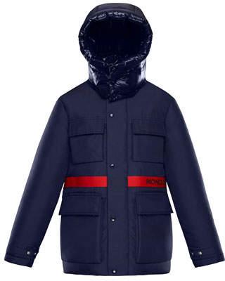 Moncler Perpignan Mixed-Material Hooded Jacket, 4-6
