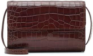 BY FAR Crossover croc-effect shoulder bag