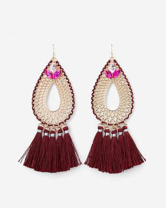 Express Woven Tassel Teardrop Earrings
