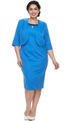 Le Bos Plus Size Beaded Dress & Jacket Set