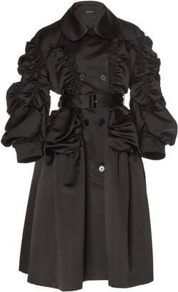 Simone Rocha Belted Ruched Longline Satin Coat