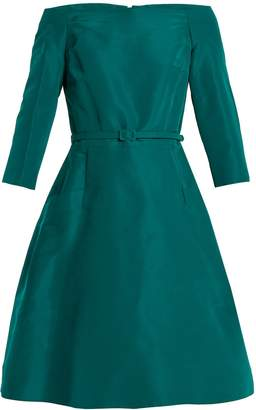 Oscar de la Renta Off-the-shoulder silk-faille dress