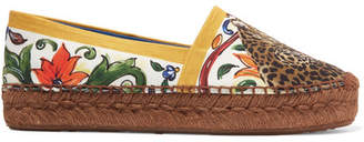 Dolce & Gabbana Maiolica Printed Canvas Espadrilles - Yellow