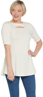Isaac Mizrahi Live! Elbow Sleeve Cut-Out Neck Peplum Tunic