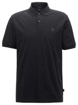 BOSS Hugo Limited-edition Pima-cotton polo shirt Jeremyville badge S Black