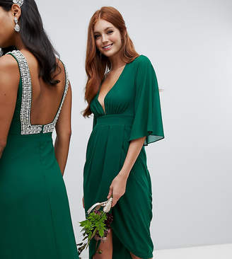 TFNC midi wrap bridesmaids dress with kimono sleeve in forest green