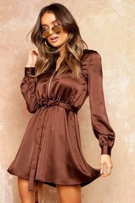 boohoo Satin Zip Front Pocket Shift Dress