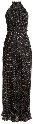 Raquel Diniz Giovanna Pleated Polka Dot Silk Dress - Womens - Black White