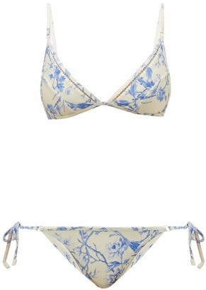 Zimmermann Verity Floral Print Bikini - Womens - White