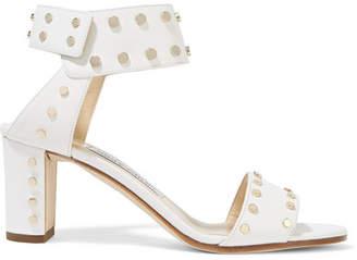 Jimmy Choo Veto 65 Studded Leather Sandals - White